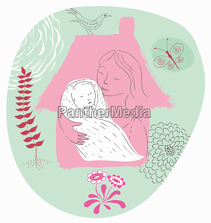 mother holding swaddled newborn baby inside