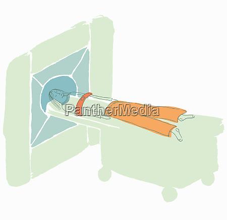woman patient having mri scan