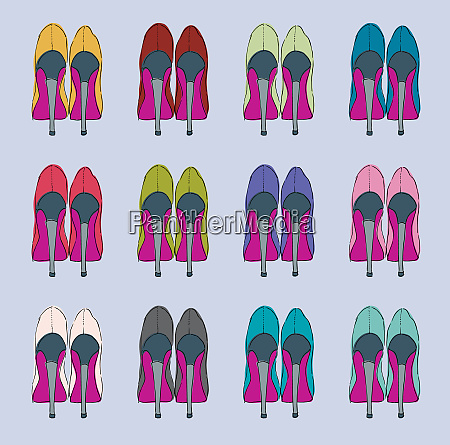 rows of multicolored high heels