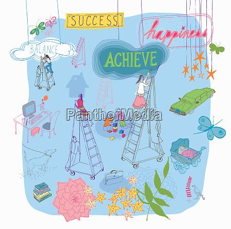 multitasking women climbing ladders to future