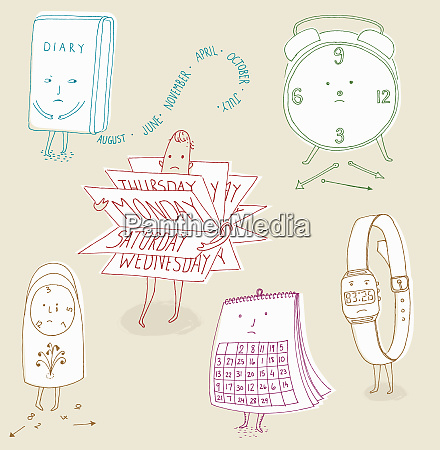 anthropomorphic calendars and clocks stressed about