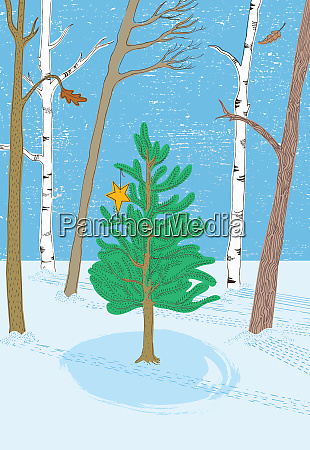 christmas tree in woods