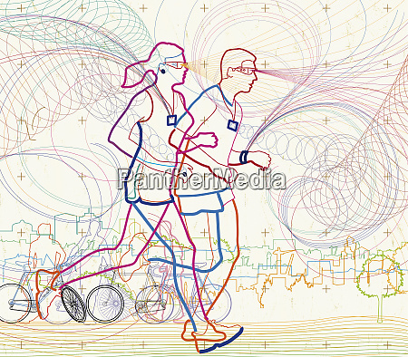 man and woman running together in