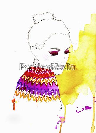 woman wearing brightly colored fairisle sweater