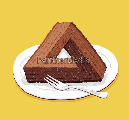 optical illusion triangular chocolate cake