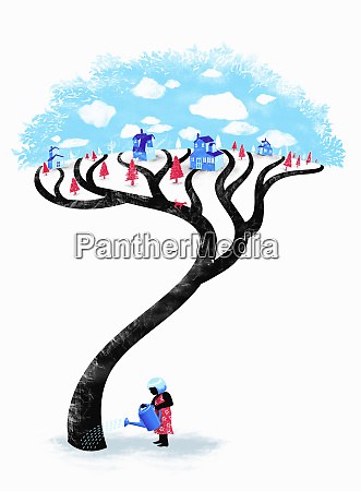 woman watering village tree with paths