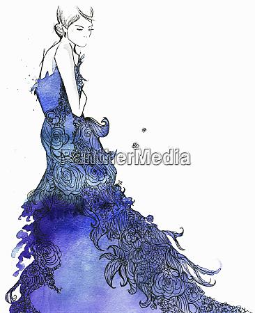 elegant woman wearing flowing blue floral