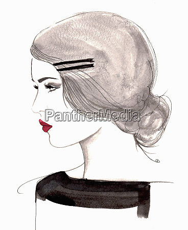profile of elegant retro woman wearing