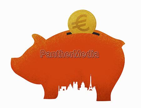 euro coin savings in piggy bank
