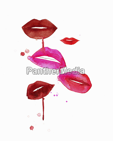 lips with smudged red and pink