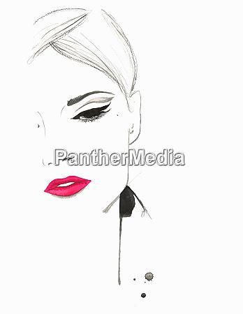 beautiful pensive woman wearing pink lipstick