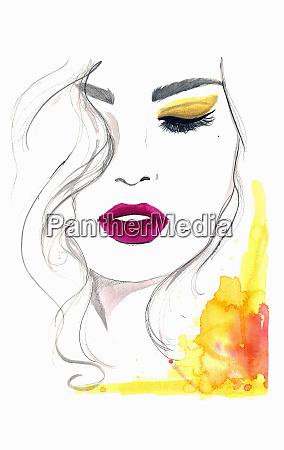 beautiful woman wearing yellow eyeshadow and