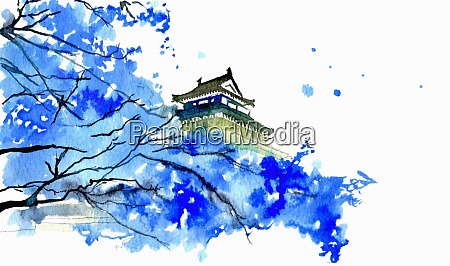 japanese temple and blue blossom
