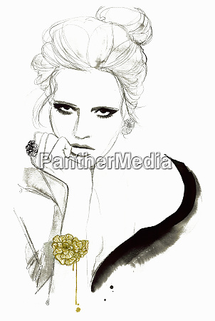 fashion illustration of elegant woman looking