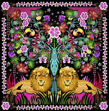 vibrant floral tropical jungle pattern