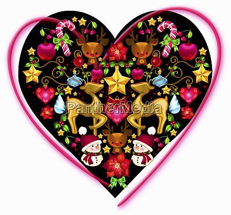 shiny christmas decorations inside of heart