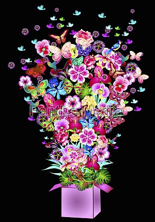 abundance of bright flowers butterflies and