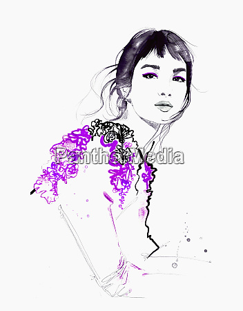 fashion illustration of beautiful woman looking