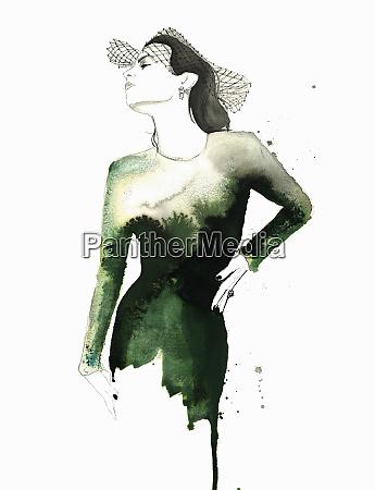 watercolor illustration of fashion model posing