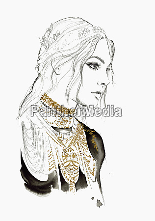 fashion illustration of young woman wearing