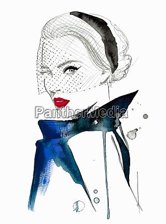 fashion illustration of beautiful woman wearing