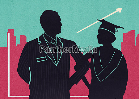 businessman and graduate standing side by