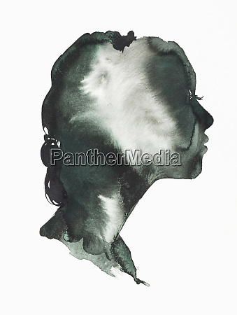 moody watercolour painting of womans profile