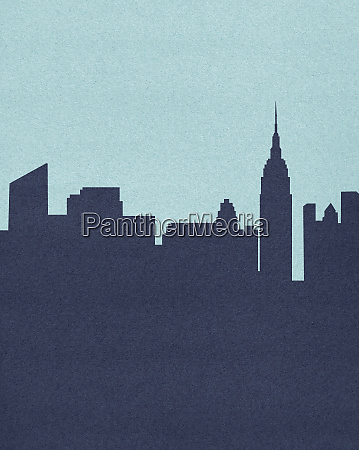 silhouetted skyline of empire state building