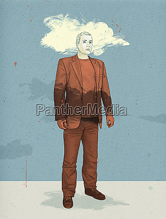 man standing with head in cloud