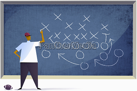 football coach planning strategy on blackboard