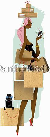 woman on shopping spree with handbag