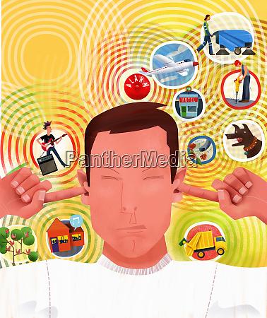noise symbols surrounding irritated man plugging