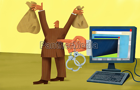 hand with handcuffs emerging from computer