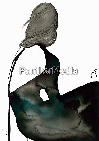 fashion, illustration, of, woman, wearing, black - 26013453