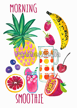 fresh, fruit, ingredients, for, healthy, morning - 26013488