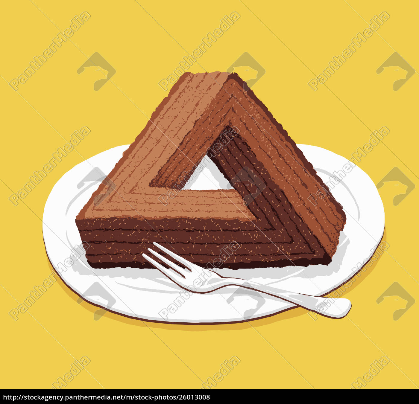 optical, illusion, triangular, chocolate, cake - 26013008
