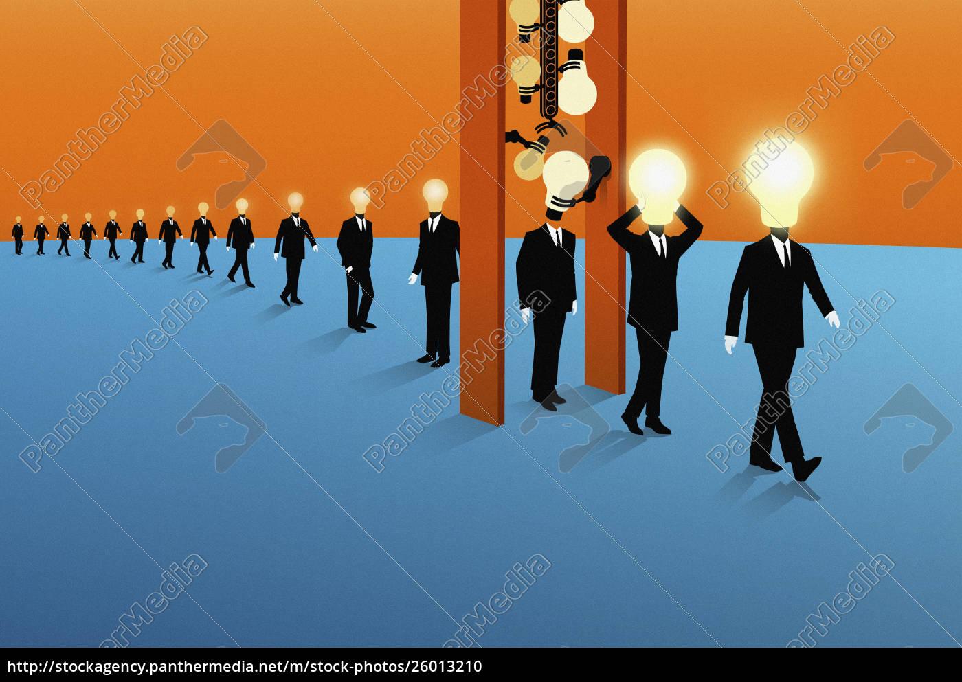 row, of, businessmen, with, dim, light - 26013210