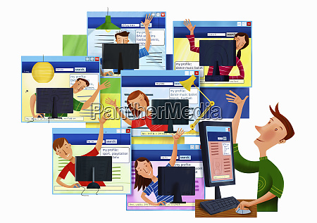 happy waving teenagers using computers and
