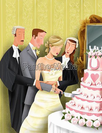 attorneys helping bride and groom cut