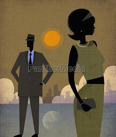 elegant couple in manhattan new york