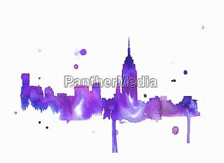 splattered watercolor of new york city