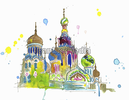 watercolor painting of saint basils cathedral