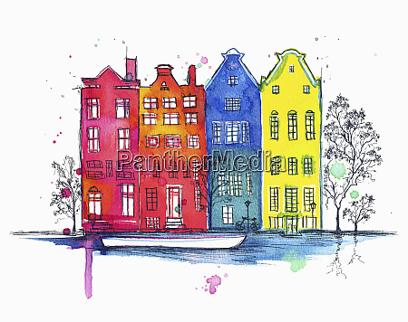 row of houses on canal in