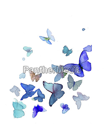 watercolor painting of bright blue butterflies