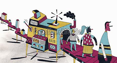 building blocks entering machine on conveyor
