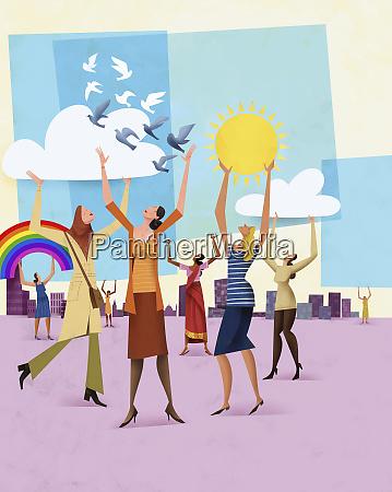 multi ethnic group of happy confident
