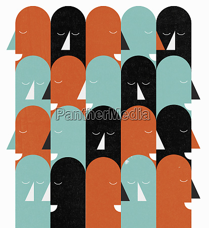 pattern of rows of heads