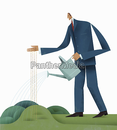 businessman sowing and watering seeds