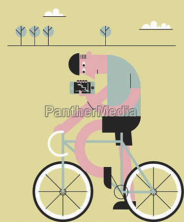 cyclist checking fitness app on mobile