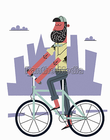hipster with beard riding bike in
